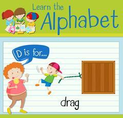 Flashcard letter D is for drag Stock Illustration