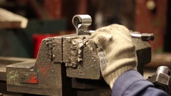 Repairman working on the vise Stock Footage