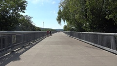 View along the Walkway Over the Hudson in Poughkeepsie, New York, United States. Stock Footage