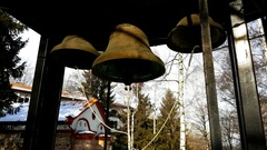 Dragalevsky Monastery, a Bulgarian Orthodox Church, bells in Winter Stock Footage