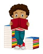 African American boy reading books Stock Illustration