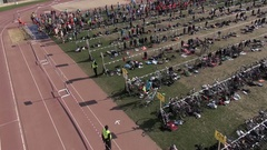 Aerial cycling traveling Barcelona Triathlon 2013 drone Stock Footage