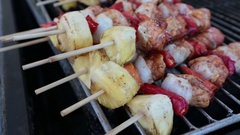 Pattaya, Thailand on November 24 Pineapple with meat on the grill Stock Footage
