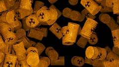 Falling Nuke Barrels Transition Stock Footage