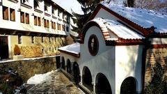 Dragalevsky Monastery, a Bulgarian Orthodox Church, bells in Winter UHD 4K Stock Footage