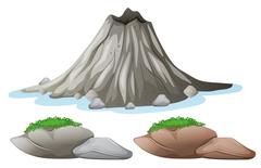 Volcano and different shades of rocks Stock Illustration