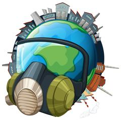 Environmental theme with earth wearing mask Stock Illustration