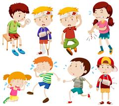 Different kids being sick and getting hurt Stock Illustration