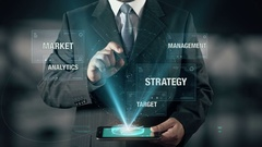 Businessman with Approach Analytics from Target Market Management Strategy Stock Footage