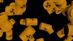 Falling Nuke Barrels Loop Stock Footage