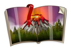 Book with volcano scene Piirros
