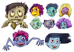 Set of zombie heads Piirros