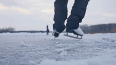 Girl skating on ice, winter beautiful view, winter holidays sport Stock Footage