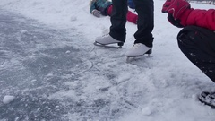 People skate on the skating sports rink in the winter on ice, a active winter Stock Footage