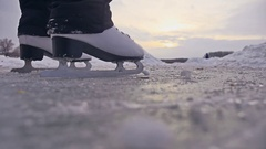 People skate on the skating rink in the winter on ice, active winter sports Stock Footage