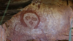 Aboriginal rock art painting at Galvins Gorge in northern Australia Arkistovideo