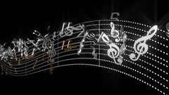 3d alpha music notes flowing with abstract line tune on transparent background Stock Footage