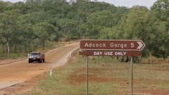 Adcock Gorge sign along Gibb River Road Stock Footage