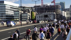 A busy summers day on London Bridge, London, UK Stock Footage