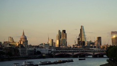 View down River Thames to London skyline Stock Footage