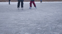 People skate on the skating rink in sports the winter on ice, a active winter Stock Footage