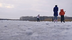 People skate on the skating rink in the winter on ice, sports active winter Stock Footage