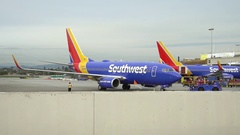 Southwest Airlines plane jet preparing for departure at LAX airport Stock Footage