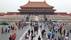 Tourists walking in Forbidden City Imperial Palace Museum in Beijing, China Stock Footage