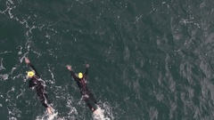 Aerial swimming Barcelona Triathlon 2013 drone Stock Footage