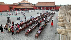 Tourists in Forbidden City Imperial Palace Museum landmark in Beijing, China Stock Footage