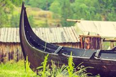 Part of old wooden viking boat in norwegian nature Stock Photos