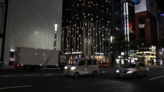 Armani and Dior stores at luxury shopping district Ginza Stock Footage