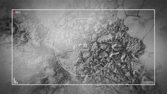 Glitchy Space Satellite Camera pans over Planetary Landscape via Camer Stock Footage