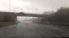 Driving in heavy rain #2 - View from windscreen / windshield Stock Footage