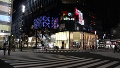 Luxury shopping district Ginza at night Stock Footage