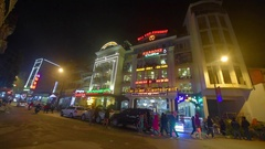 View of main square at Sapa Town Stock Footage