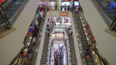Shoppers in Suria KLCC Mall. Stock Footage