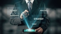 Businessman with Approach Management from Strategy Analytics Market Target Stock Footage