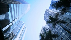 Smooth low angle tracking shot of office buildings. Stock Footage