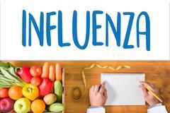 INFLUENZA headache because of influenza virus , Medical Concept , Diagnosis.. Stock Photos