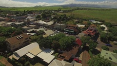 Top VIew. Small Old Town. Pai'a Town - Main Street - Fly Over Stock Footage