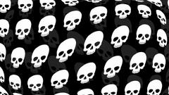 Skull Seamless Repeat Wallpaper in Black Stock Footage