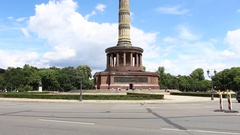 "Traffic around famous landmark ""Victory Column"" in Berlin. Stock Footage"