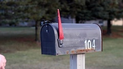 Mailbox opened and mail taken Stock Footage