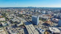 Aerial timelapse video view of 101 Hollywood freeway and Hollywood Boulevard Stock Footage