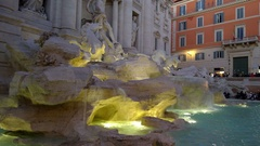 View Of Trevi Fountain Rome Stock Footage