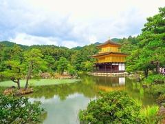 Kinkakuji Temple (The Golden Pavilion) in Kyoto, Japan Stock Footage