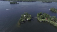 Aerial beautiful lake and waterfront property 4k Stock Footage