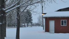 Snow falling on red sided rural building and trees Stock Footage