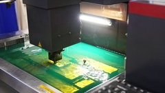 Cutting of sheet metal process in water. Sparks fly from laser by automatic Stock Footage